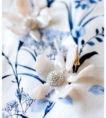 Lele Sadoughi white Crystal Lily Flower Clip Earrings GORGEOUS - $198 Clip White Earrings