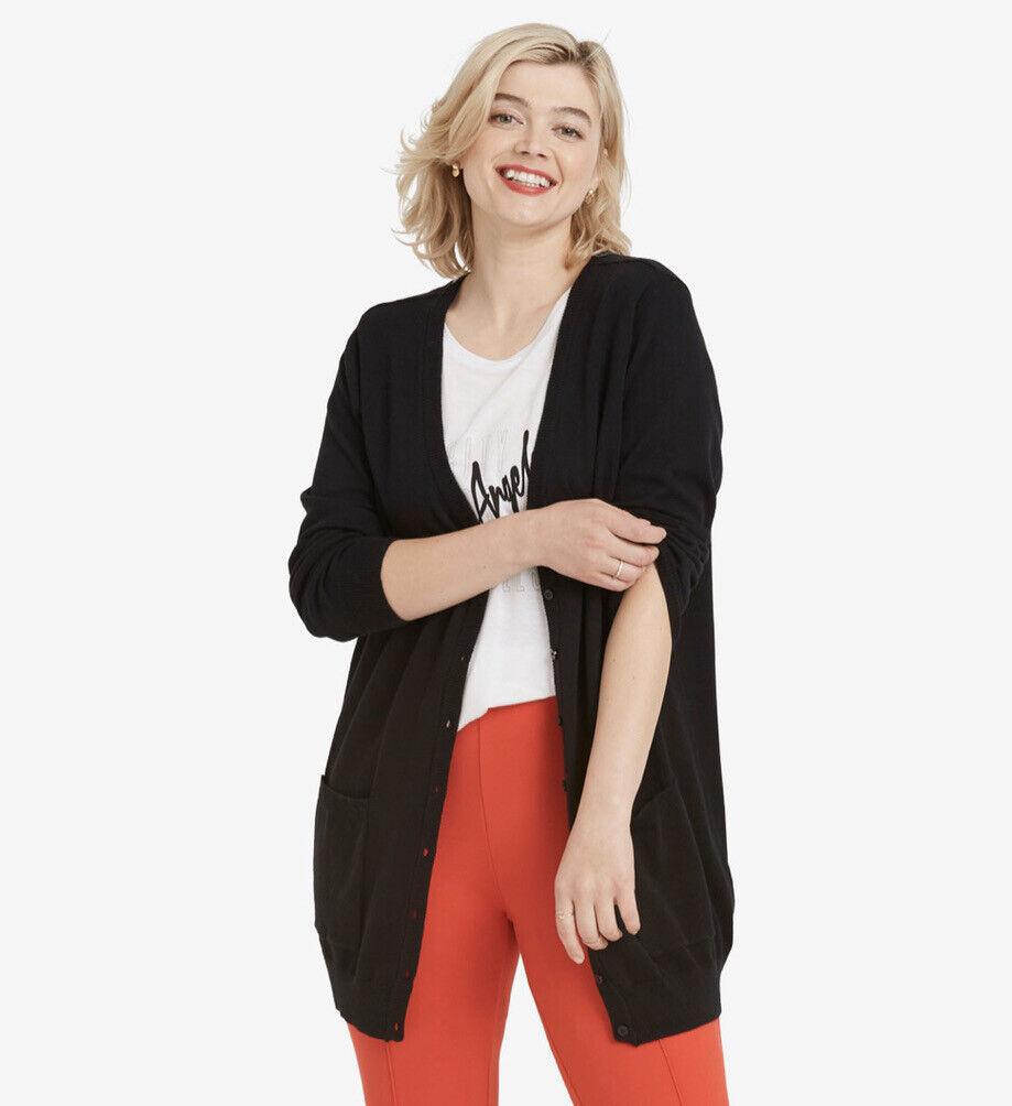 Ellos Black Knit Boyfriend Cardigan With Pockets Plus Size 1
