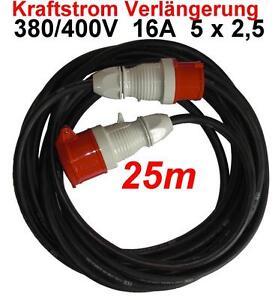 cee 16a verl ngerungskabel 25m 380 400 v kabel 5x2 5mm. Black Bedroom Furniture Sets. Home Design Ideas