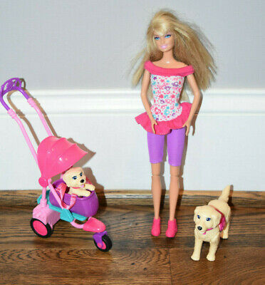 RARE Barbie Strollin' Pups Playset w/ 2 Dogs, Taffy, dog stroller & Doll