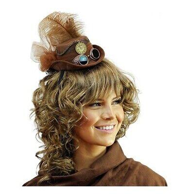 Mini Brown Steampunk Top Hat Victorian Goggles Cocktail Women Costume Accessory