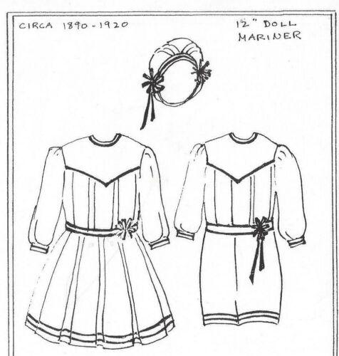 "12""ANTIQUE FRENCH GERMAN BOY SUIT GIRL DOLL@1890-1920 YOKE DRESS BONNET PATTERN"