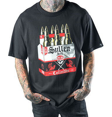Sullen Clothing Sixer Six Pack Ammo Beer Artwork Tattoo Rock Goth Black T Shirt