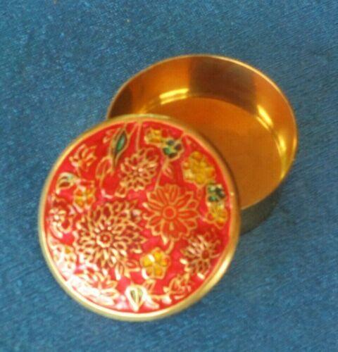 Vintage Brass Trinket Box Enamel Round Floral