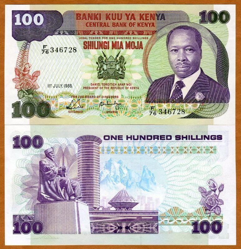 Kenya, 100 shillings, 1988, P-23 (23f), UNC