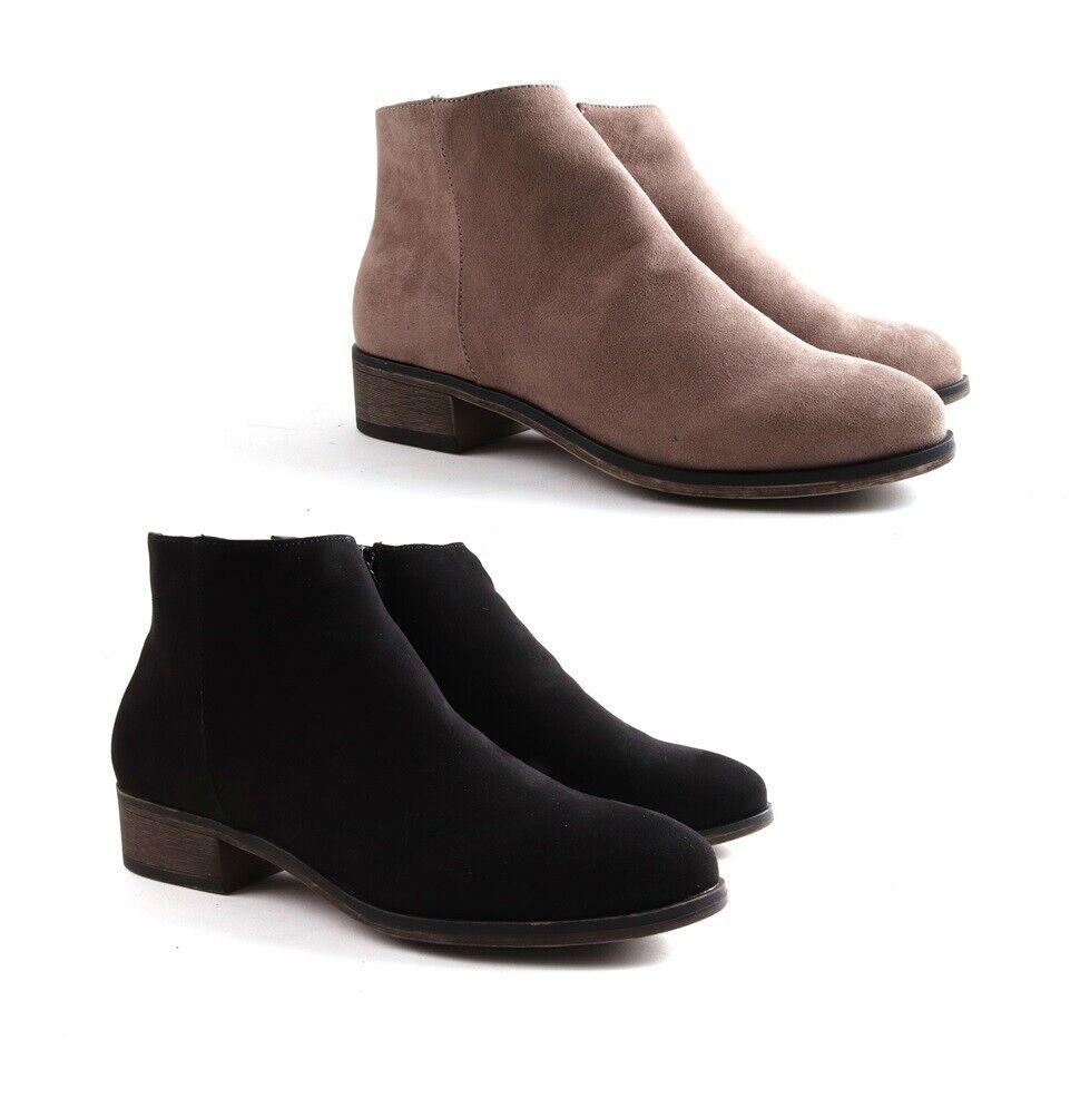 Womens Ladies Low Heel Block Cowboy Style Ladies Zip Ankle B