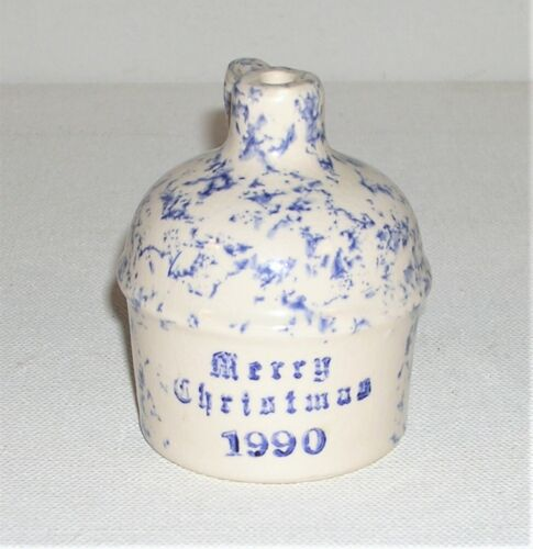 "Vintage 1990 RCP Miniature Spongeware Jug Merry Christmas 2.5"" Tall Ornament"