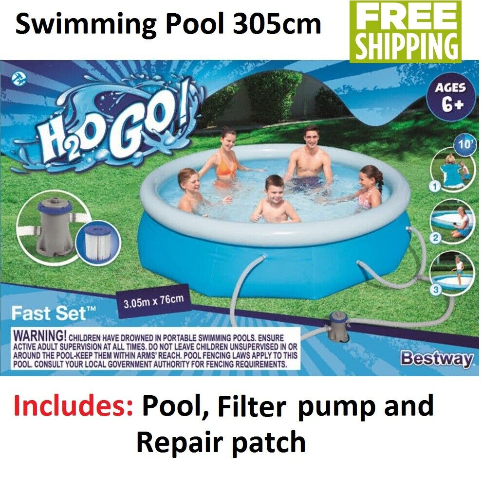 Details about Bestway Inflatable Pool Large 3m Family Childrens Adult  Swimming Pool Fast Set