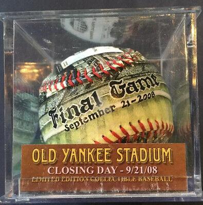 NY YANKEES UNFORGETTABALL Yankee Stadium 2008 Final Game Baseball w/ Case & COA Final Game Baseball