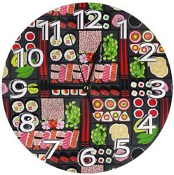 Sushi Wall Clock No Sound Round Simple Design Fashionable Decoration JAPAN NEW