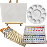 Art Painting Kit - Artist Paint Set with Easel, Canvas, 12 Brushes & 24 Acrylic
