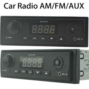 Car FM/AM Radio Stereo LCD Display MP3 Player AUXIN/Clock 1DIN In Dash Head Unit