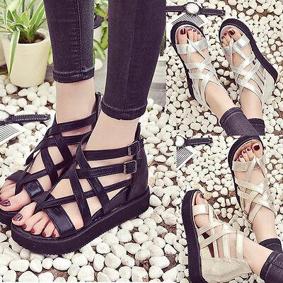Women's Summer Fashion Sandals Shoes Peep-toe Low Roman Ladies Flip Flops Shoes