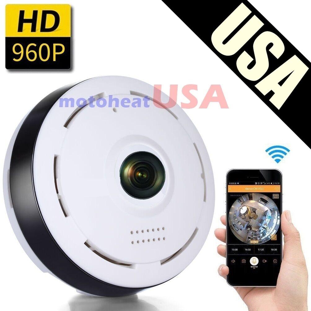 Mini 360 Degree Panoramic Wireless Wifi IP Fisheye Camera Two Way Audio 960P HD