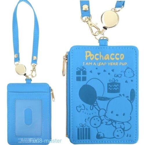 Pochacco Coin Purse Card Holder Case Wallet Pouch w/Zipper Bag Retractable Strap