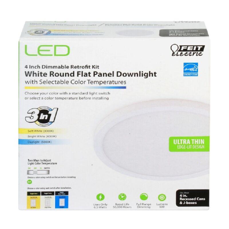 Feit Electric 74202/CA Round Flat Panel Retrofit Downlight Kit, White, 6.5 W