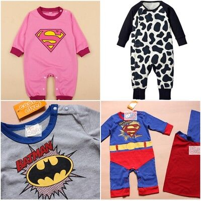 NEW Baby Boy Girl Kids Superman Supergirl Costume Romper Fancy Calf Cow 3-18 M