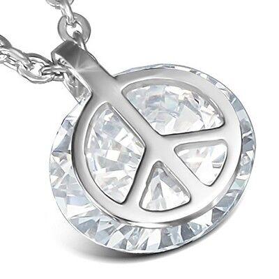 Edelstahl Kette mit Peace Frieden Zeichen Anhänger Halskette  Silber ME 219