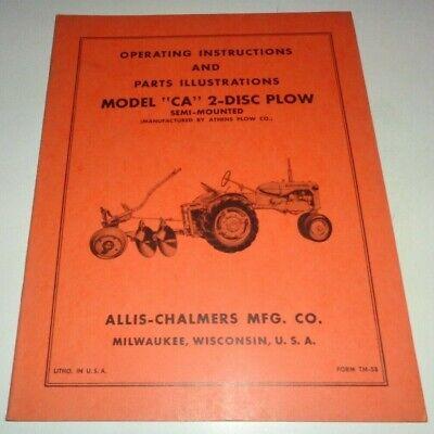 Allis Chalmers Ca 2-disc Plow Operatorsparts Manual Original Tractor Semi-mntd