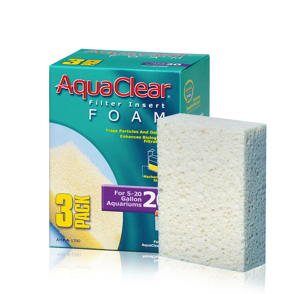 New Aquaclear Foam Inserts for 5 to 20 Gallons Aquariums, 3-