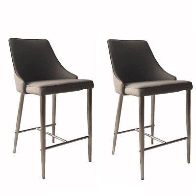 2 pcs Metal Bar Stool Fabric Seat Chair Stools Grey Industrial Classic Kitchen