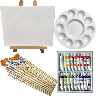 Art Painting Kit - Artist Paint Set with Easel, Canvas, 12 Brushes & 18 - Acrylic Paint Kit
