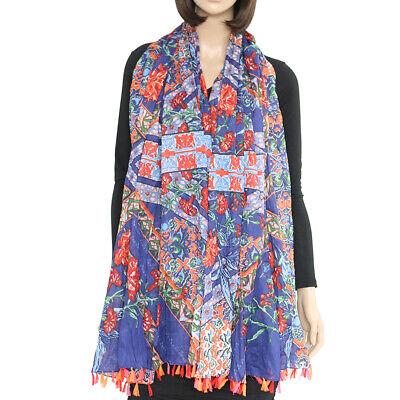 100% Cotton Rose flower floral oblong large BIG scarf Shawl hand tassel Hawaiian