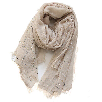 PALMA Beige Solid scarf soft Shawl wrap stole evening new Glitter Bling Dressy