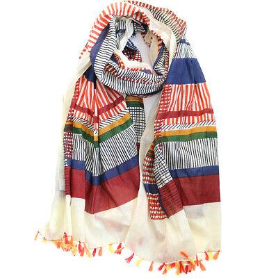 100% Cotton natural border oblong large BIG scarf Shawl hand tassel Pareo new