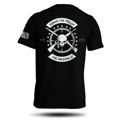 Honor The Fallen T-Shirt American Punisher Legend Sniper Army Military Men's Tee (Punisher Shirt)