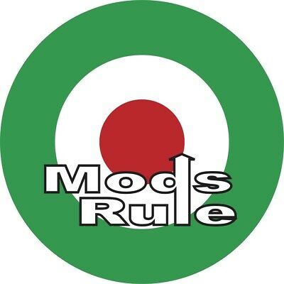 150mm Italian 'Mods Rule' Mod RAF Roundel Sticker Scooter The Jam Italy Vespa