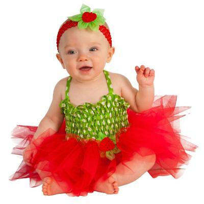Infant Girls Red Strawberry Costume Baby Tutu Dress & Headband Outfit (Strawberry Costume Baby)