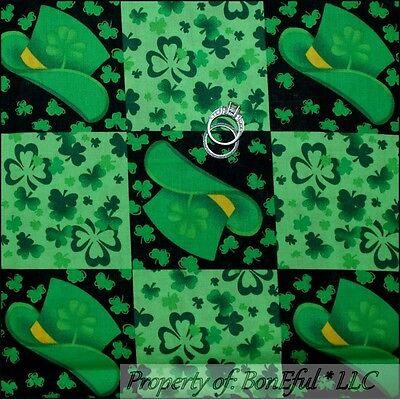 BonEful Fabric FQ Cotton Quilt Green Black Block St Patrick Hat Clover Shamrock](Leprachaun Hat)