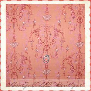 BonEful-Fabric-FQ-Cotton-Quilt-VTG-Chandelier-Lace-Pink-Brown-Sm-Flower-Delicate