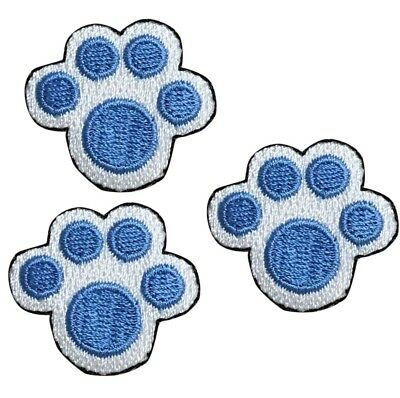 Puppy Paw Print (Puppy Paw Print Applique Patch - Blue Footprint from a Dog (3-Pack, Iron)