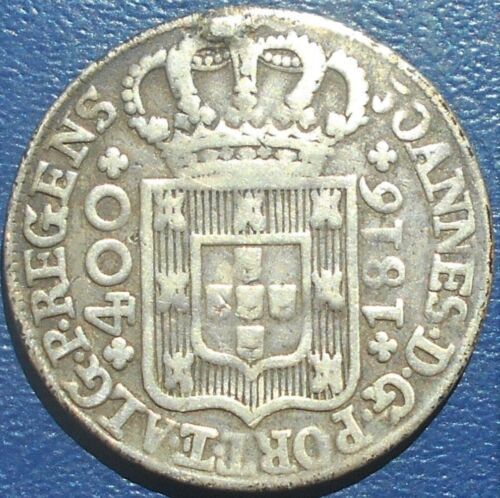.917 Silver 1816 Portugal 400 Reis Cruzado Novo KM# 331 João Prince Regent # 710