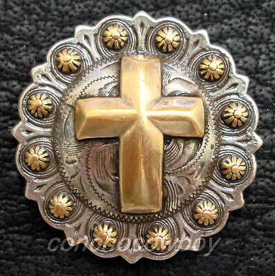 """WESTERN SADDLE ANTIQUE GOLD CROSS BERRY CONCHO 1-1/4"""" SCREW BACK"""