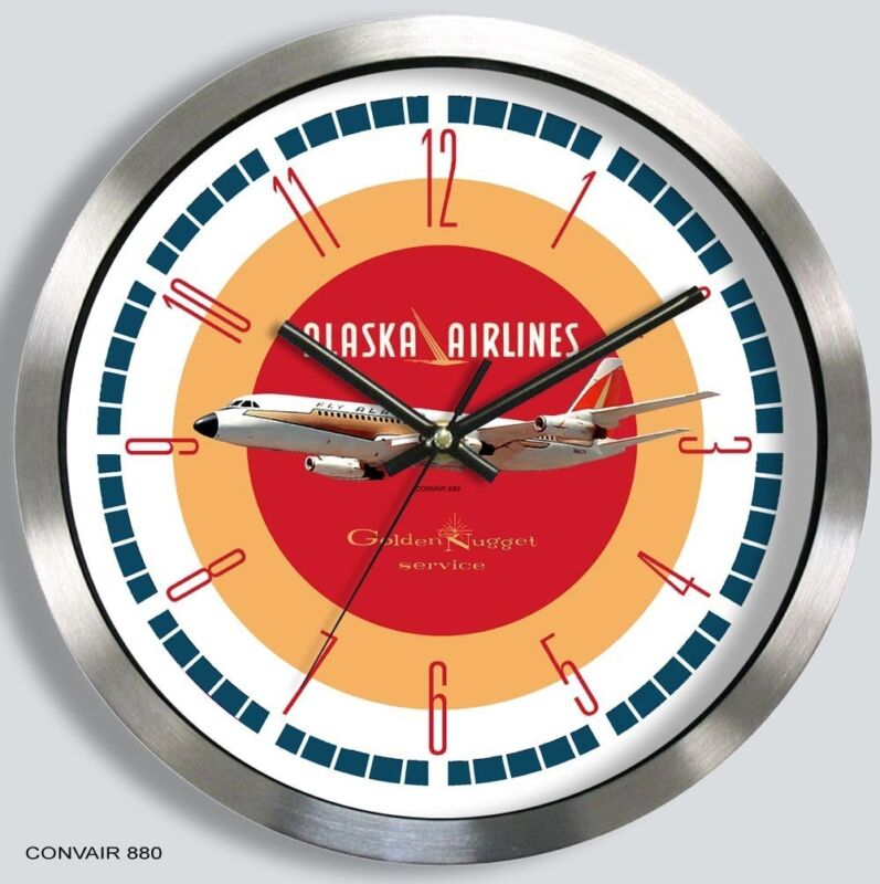 ALASKA AIRLINES CONVAIR 880 WALL CLOCK METAL 1960