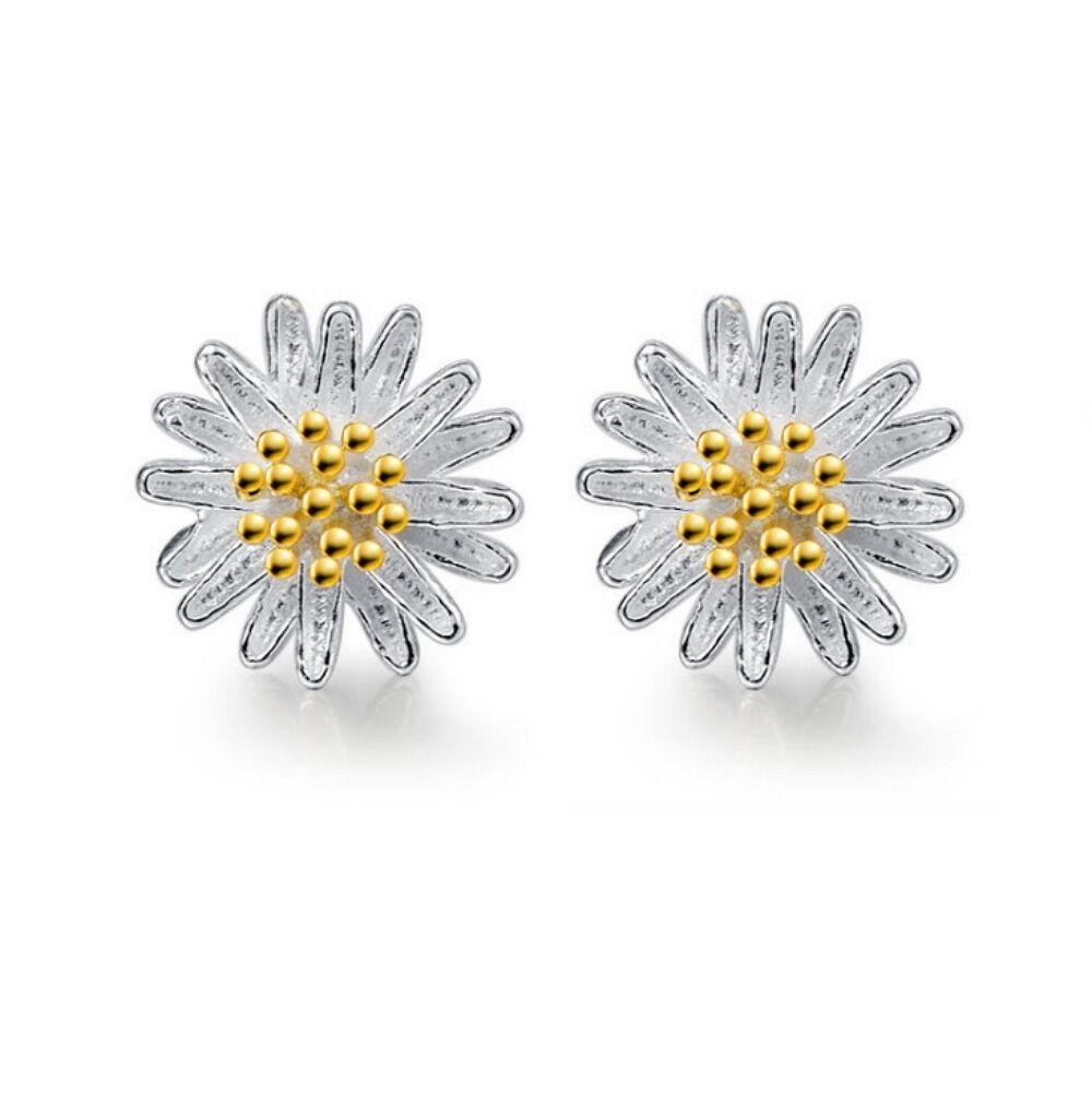 Fashion Women Solid 925 Sterling Silver Daisy Shape Ear Stud Earrings Jewelry Earrings