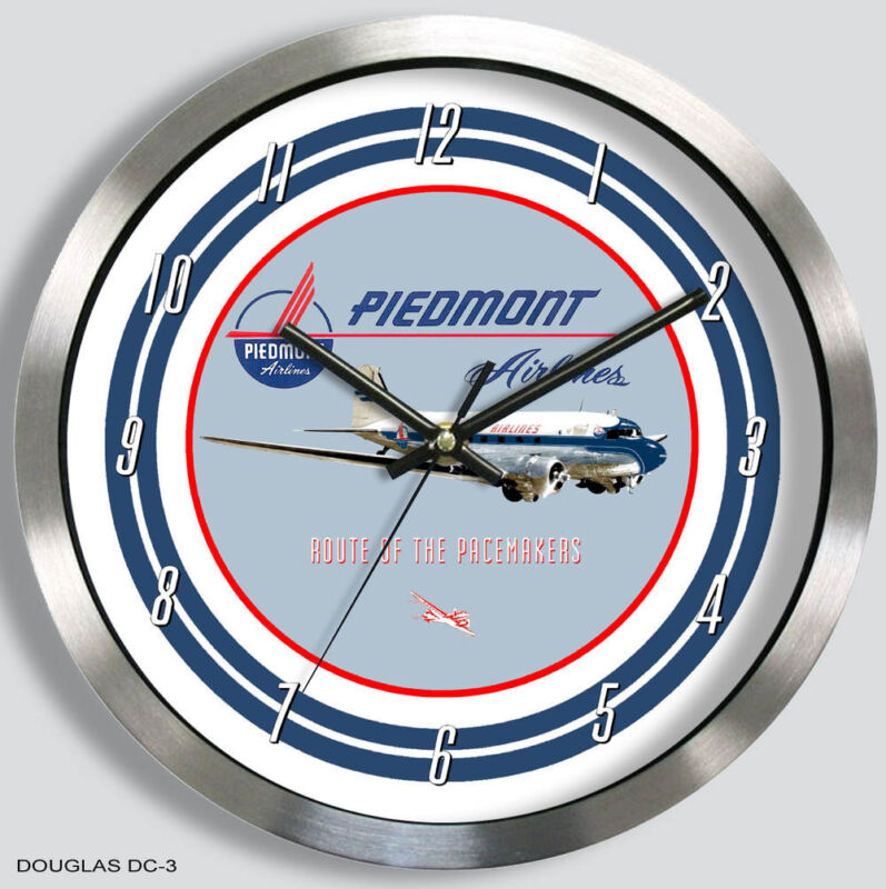 PIEDMONT AIRLINES DOUGLAS DC-3 WALL CLOCK METAL 1950s