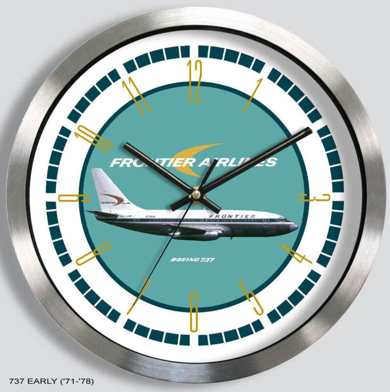 FRONTIER AIRLINES BOEING 737 WALL CLOCK METAL 1960s 70s