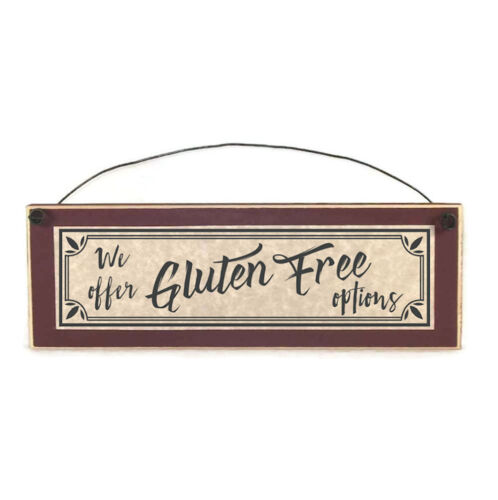 We Offer Gluten Free Options Sign, funny signs restaurant food menu wood plaques