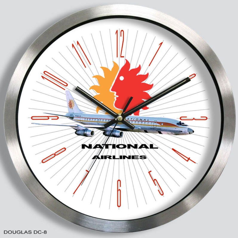 NATIONAL AIRLINES DOUGLAS DC-8 WALL CLOCK 1960s 1970s metal