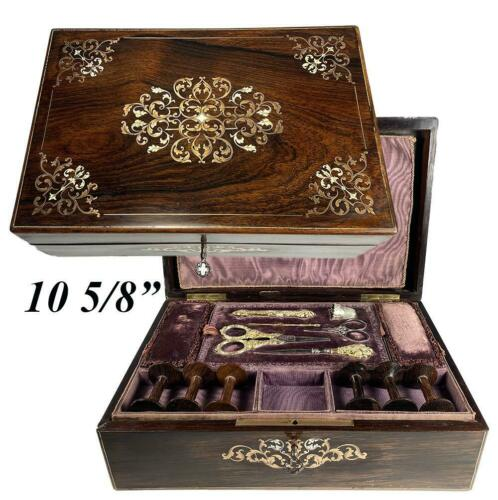 Exq Antique French Boulle Sewing Box, Tools, Vermeil 18k over .800/1000 Silver