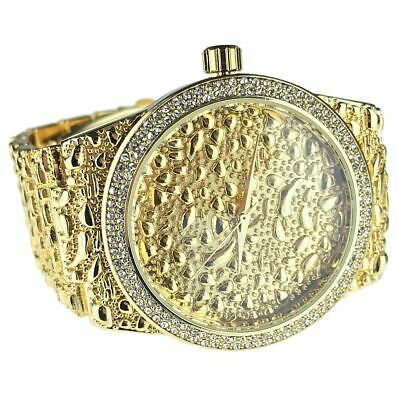 "Mens Gold Nugget Ice Watch Blinged Out Nuggets Rapper Hip Hop Wristwatch 8"" Inch"