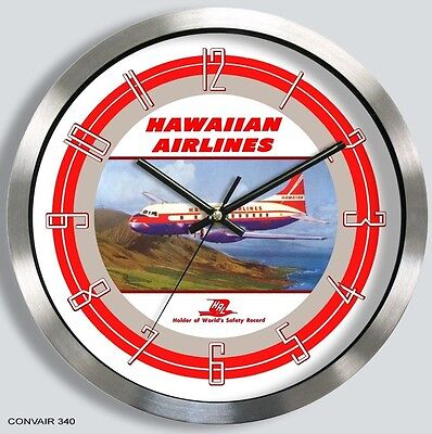HAWAIIAN AIRLINES CONVAIR 340 WALL CLOCK 1950s 1960s metal