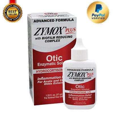 Zymox Plus Otic Advanced Formula 1% Hydrocortisone Dog&Cat Ear Solution,1.25OZ