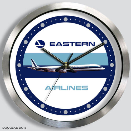 EASTERN AIRLINES DOUGLAS DC-8 WALL CLOCK METAL 1960s 70s
