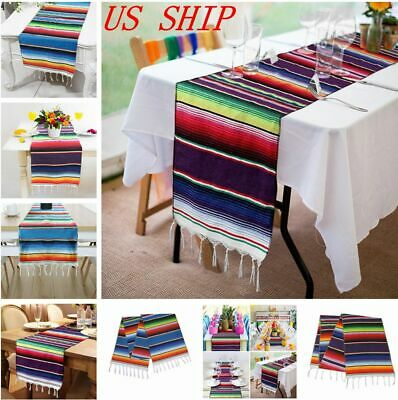 US Ship Mexican Serape Table Runner Cotton Tablecloth Festival Party Table Decor](Serape Tablecloth)
