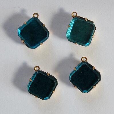 Aqua Brass Gold Mirror (VINTAGE 4 GOLD FOILED MIRROR GLASS OCTAGON SQUARE DANGLES 12mm AQUA BLUE )